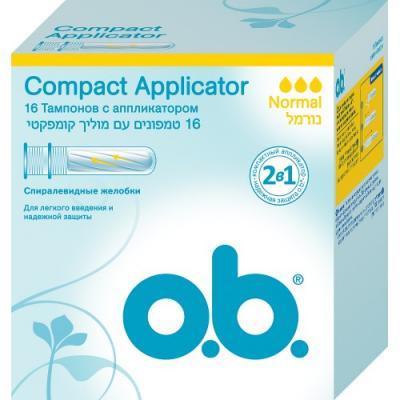 Тампоны o.b. Compact Applicator Normal 16 шт 83568 o b compact applicator super тампоны женские гигиенические с аппликатором 16 шт