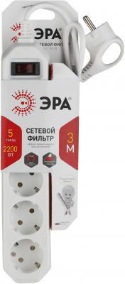 Сетевой фильтр Эра USF-5es-3m-W 3 м 5 розеток эра usf 5es 3m b черный