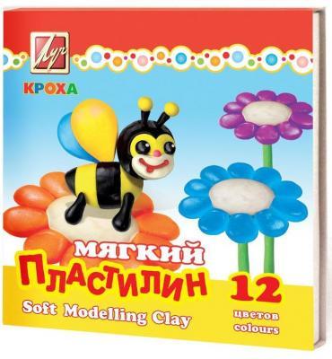 Пластилин КРОХА мягкий со стеком, 12 цв., 250гр