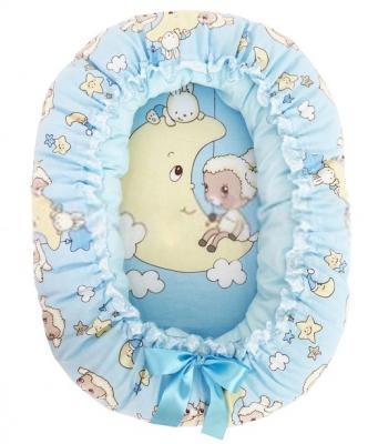 Подушка-валик-гнездо Золотой Гусь Овечка на луне (голубой)