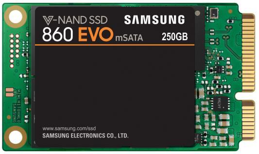 Твердотельный накопитель SSD mSATA 250Gb Samsung 860 EVO Read 550Mb/s Write 520Mb/s SATA III MZ-M6E250BW твердотельный накопитель ssd msata 500gb samsung 850 evo read 540mb s write 520mb s sata iii mz m5e500bw