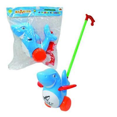 Каталка на палочке Тилибом Дельфин разноцветный от 1 года пластик каталка на палочке s s toys вертолет 23х16х13см