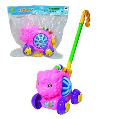 Каталка на палочке Тилибом Весёлые животные разноцветный от 1 года пластик каталка на палочке s s toys вертолет 23х16х13см