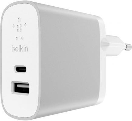 Сетевое зарядное устройство Belkin F7U011vfSLV USB-C USB 3/2.4 A серебристый сетевое зарядное устройство belkin f7u010vf06 slv 3 а usb серебристый