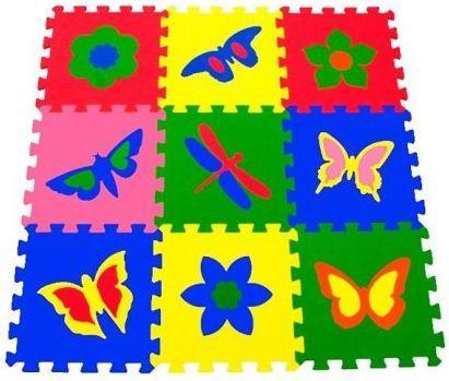 Мягкий пол универсальный Бабочки 9 дет (1 дет - 33*33 см) 33МП1/Б пирамидка ступеньки 9 дет