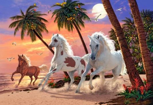 Купить Пазл Кастор Белые лошади 1500 элементов C-151691, Пазлы-картины