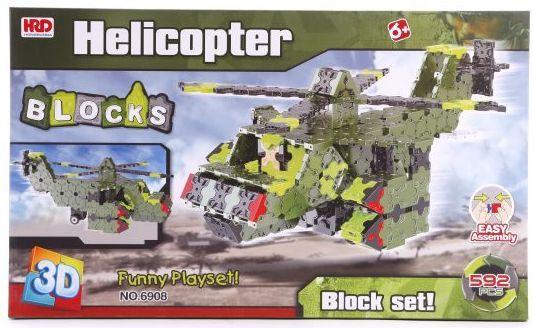 Купить Конструктор 3D Наша Игрушка Вертолет 592 элемента A1012413B, Мягкие конструкторы для детей
