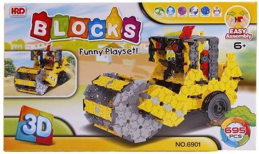Купить Конструктор 3D Наша Игрушка Дорожный каток 695 элементов A1012403B, Мягкие конструкторы для детей