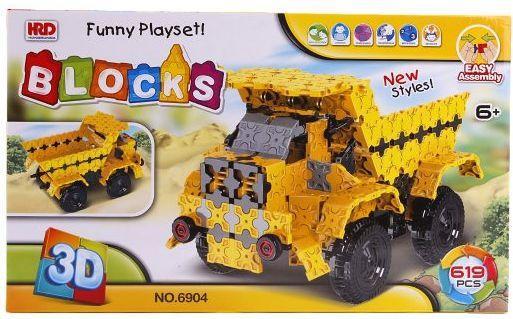 Купить Конструктор 3D Наша Игрушка Самосвал 619 элементов A1012408B, Мягкие конструкторы для детей
