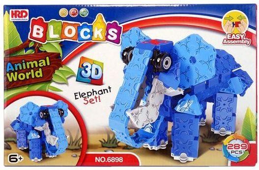 Купить Конструктор 3D Наша Игрушка Слон 289 элементов A1012389B, Мягкие конструкторы для детей