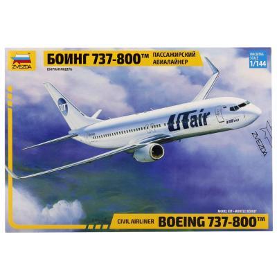 Самолёт Звезда Пасс. авиалайнер Боинг 1:144 серебристый 7019П