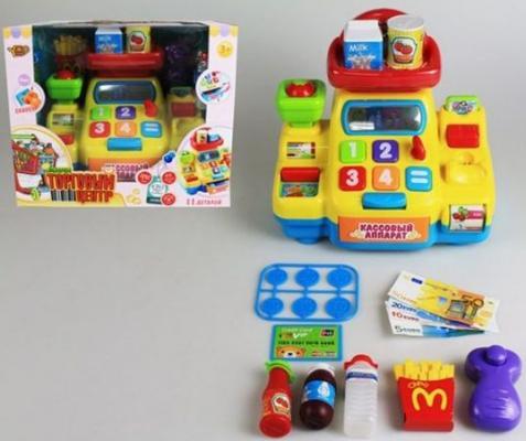 Кассовый аппарат Торговый центр желт., со сканером и набором продуктов 9 предм., свет, звук, батар.н