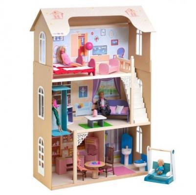 Кукольный домик Грация, для кукол до 30 см (16 предметов мебели, лестница, лифт, качели) кукольный домик paremo милана с 15 предметами мебели