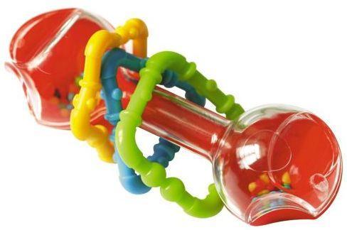 Погремушка Гантелька Прозрачная функциональная погремушка жирафики звонкая гантелька с шариками