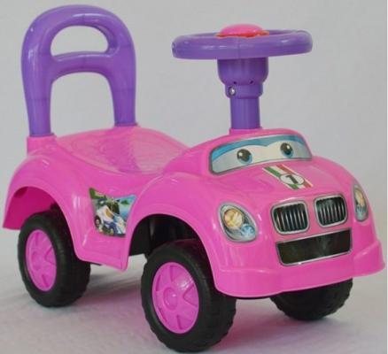 Каталка на шнурке Наша Игрушка Машина-каталка Авторалли розовый от 3 лет пластик Q09-1/PINK