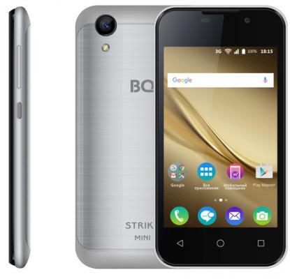 Смартфон BQ BQ-4072 Strike Mini серебристый 4 8 Гб Wi-Fi GPS 3G планшет bq bq 7021g hit black spreadtrum sc7731 1 3 ghz 512mb 8gb 3g gps wi fi cam 7 0 1280x800 android