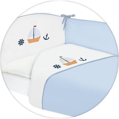 Постельное бельё 3 предмета Ceba Baby (вышивка/marine blue) постельное белье kidboo blue marine 4 предмета