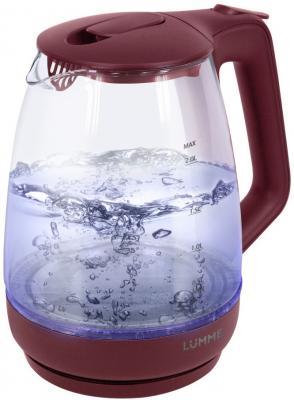Чайник Lumme LU-140 2200 Вт красный гранат 2 л пластик/стекло чайник lumme lu 140 темный топаз 2200 вт 2 л стекло