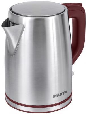 Чайник Marta MT-1092 2200 Вт красный гранат 2 л нержавеющая сталь чайник электрический marta mt 1092 красный гранат