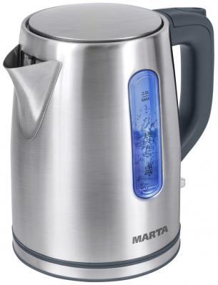 все цены на Чайник Marta MT-1093 2200 Вт серый жемчуг 2 л нержавеющая сталь онлайн