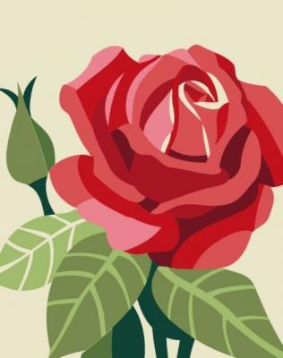 Роспись по холсту Роза, 16,5х13 см роспись по холсту встреча при луне а4