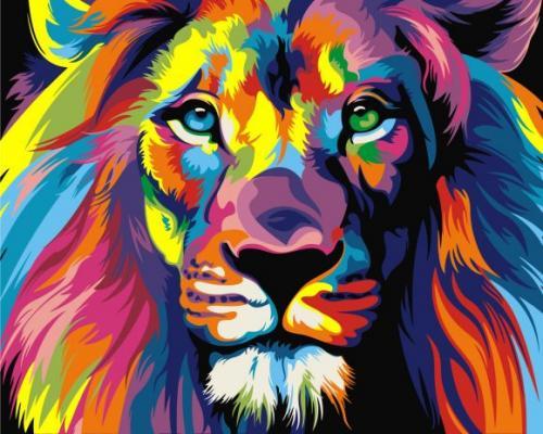 Роспись по холсту Радужный лев, 40х50 см