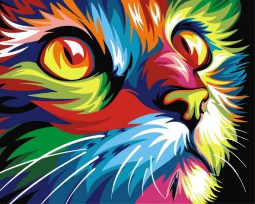 Роспись по холсту Радужный кот, 40х50 см