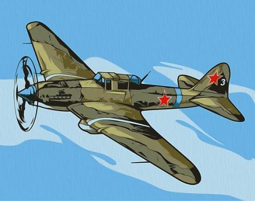 Роспись по холсту Ил-2 Штурмовик 16,5х13 см