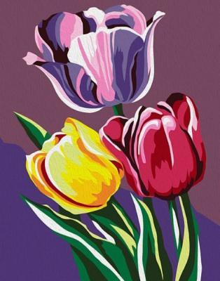 Роспись по холсту Тюльпаны, 16,5х13 см бархатные тюльпаны