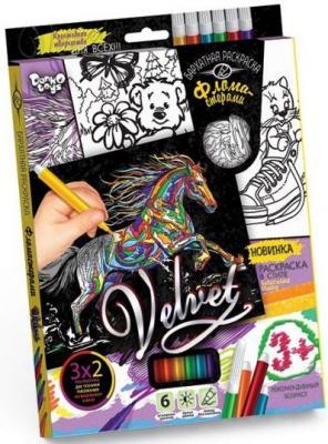 Набор креативного тв-ва Бархатная раскраска фломастерами VELVET Лошадь