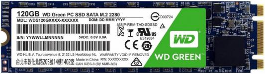 Твердотельный накопитель SSD M.2 120Gb Western Digital Green Read 545Mb/s SATAIII WDS120G2G0B твердотельный накопитель ssd m 2 250gb western digital blue read 550mb s write 525mb s sataiii wds250g2b0b
