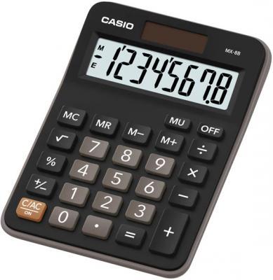 Калькулятор настольный CASIO MX-8B 8-разрядный черный калькулятор casio mx 12b компакт настольный