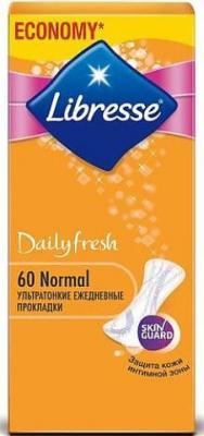Прокладки ежедневные Libresse Дэйлифреш Нормал 60 шт 8186 гигиена для мамы libresse ежедневные прокладки style deo normal 60 шт