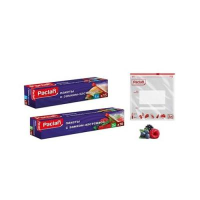 PACLAN Пакеты с замком-застежкой 22Х18см 1л 15 шт. защитные пластиковые пакеты plastic liners 100 шт