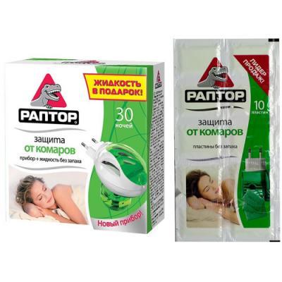 РАПТОР Промо Комплект прибор жидкость 30 ночей 10 пластин от комаров средство защиты от комаров раптор комплект прибор жидкость 30 ночей 10 пластин