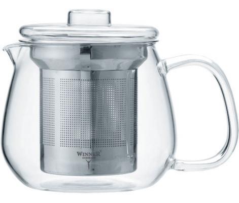 Чайник заварочный Winner WR-5220 прозрачный металлик 0.65 л металл/стекло чайник 0 6 л winner чайник 0 6 л