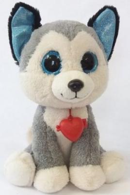 Купить Мягкая игрушка Глазастик Хаски, Фэнси, белый, серый, искусственный мех, Животные