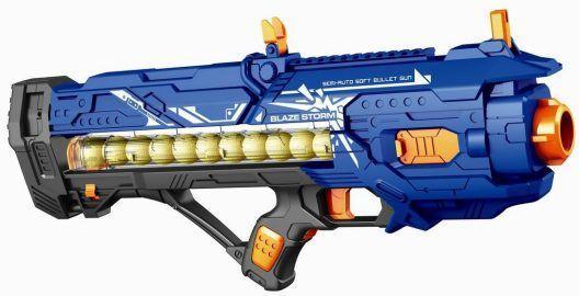 Купить Бластер эл. с мягкими пулями, 12 м/пуль, Наша Игрушка, синий, пластик, Интерактивные мягкие игрушки