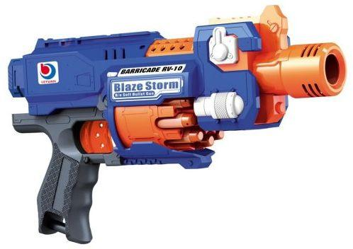 Купить Бластер эл. с мягкими пулями, 20 м/пуль, Наша Игрушка, синий, пластик, Интерактивные мягкие игрушки