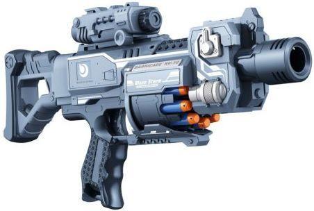 Купить Бластер эл. с мягкими пулями, 20 м/пуль, Наша Игрушка, серый, пластик, Интерактивные мягкие игрушки