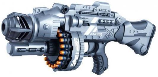 Купить Бластер эл. с мягкими пулями, 40 м/пуль, Наша Игрушка, серый, пластик, Интерактивные мягкие игрушки