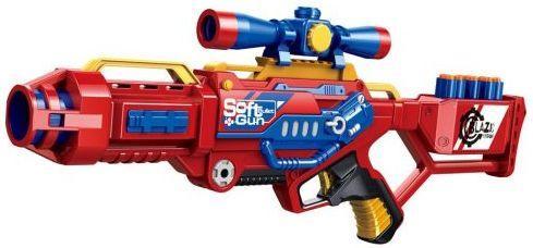 Купить Бластер с мягкими пулями, 20 м/пуль, Наша Игрушка, красный, пластик, Интерактивные мягкие игрушки