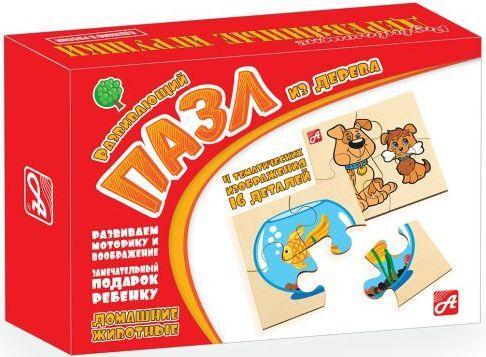 Пазл деревянный Русские деревянные игрушки Домашние животные 4 элемента Д543а деревянные игрушки behno кубики пазл домашние животные