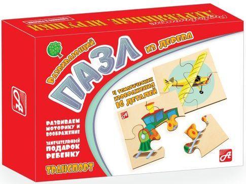 Пазл деревянный 4 элемента Русские деревянные игрушки Транспорт Д545а цена