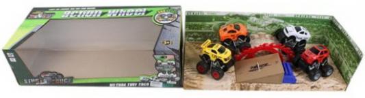 Автотрек, 4 машины инерц., трамплин, коробка машины majorette трамплин человек паук с 1 автомобилем