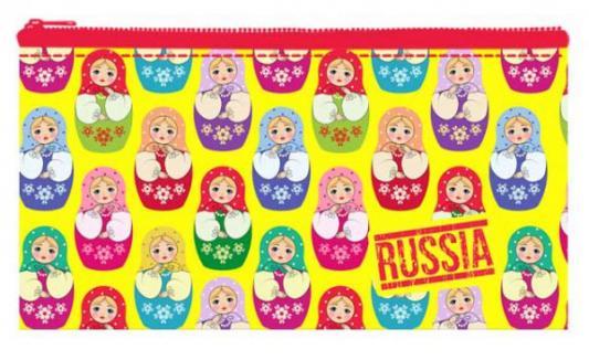 Пенал-кошелёк МАТРЕШКИ,ткань с подкладкой, дизайн 195х105 мм матрешки