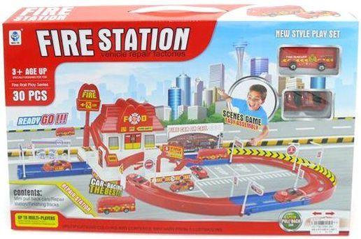 Пожарная станция Наша Игрушка Пожарная станция с дорогой красный 2 шт 5599-26A hti большая пожарная станция teamsterz