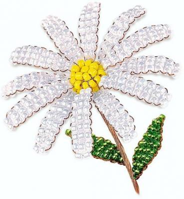 Набор для творчества Клевер Цветы из бисера Жемчужная ромашка от 8 лет АА 05-604