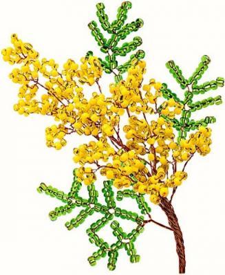 Набор для творчества Клевер Цветы из бисера Мимоза от 8 лет АА 05-605 набор для творчества клевер цветы из бисера нежный ландыш аа 05 608