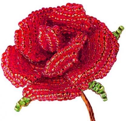 Набор для творчества Клевер Цветы из бисера Алая роза от 8 лет АА 05-602 набор для творчества клевер цветы из бисера нежный ландыш аа 05 608